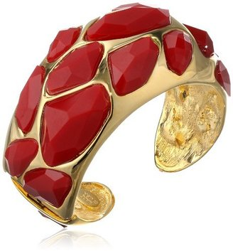 Kenneth Jay Lane Polished Gold-Plated and Red Faceted Stones Cuff Bracelet, 7.5""
