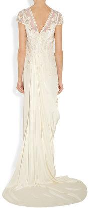 Temperley London Laelia floral-appliquéd silk crepe de chine gown