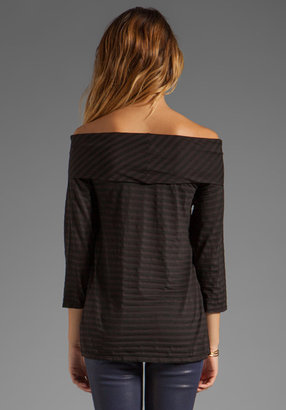 LAmade Tencel Stripe 3/4 Sleeve Off the Shoulder Top