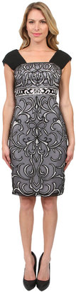 Sue Wong Embroidered Cocktail Dress in Black/Platinum