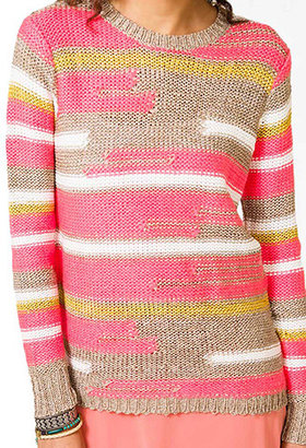 Forever 21 Abstract Striped Panel Sweater