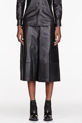 Yang Li Black buffed Leather Gaucho pants