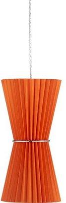Crate & Barrel Pleat Orange Hourglass Pendant Lamp