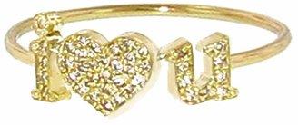Jennifer Meyer Diamond I Heart You Stacking Ring - Yellow Gold