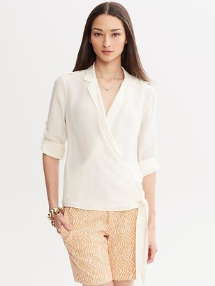 Banana Republic Heritage Silk Wrap Top