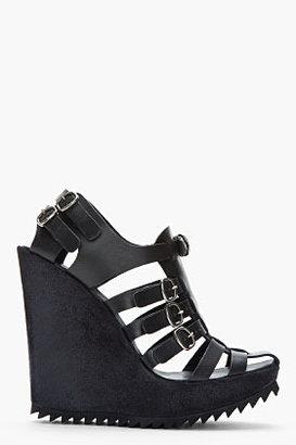 Pedro Garcia Black Leather Multi-Strap Buckled Wedge Sandals