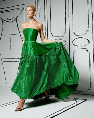 Oscar de la Renta Crystal-Buckle Faille Belt, Emerald/Navy