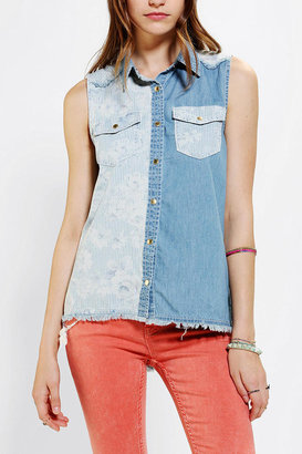 Urban Outfitters Pins And Needles Stripe Chambray Sleeveless Shirt