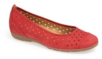 Gabor Perforated Leather Ballet Flat