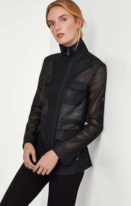 BCBGMAXAZRIA Bronnen Perforated Open-Back Jacket
