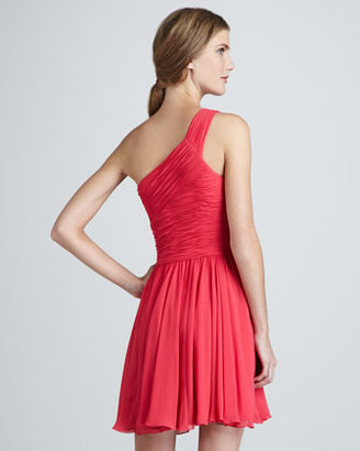 Halston Ruched-Top One-Shoulder Dress