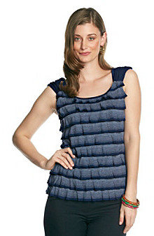 Amy Byer Ruffled Striped Knit Top
