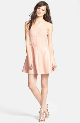 Glamorous V-Back Faux Leather Skater Dress