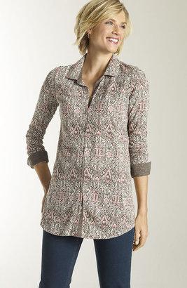 J. Jill Printed slub-knit shirt