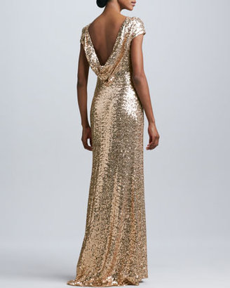Badgley Mischka Collection Sequined Cowl-Back Gown