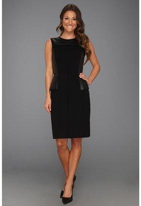 Calvin Klein Sleeveless Career Sheath w/ Pleather Peplum Detail Dress (Black) - Apparel
