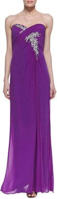 Faviana Strapless Beaded Spray Bodice Gown, Purple
