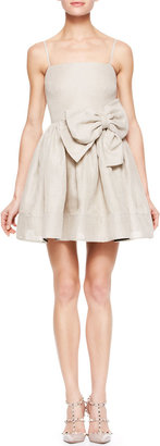 RED Valentino Spaghetti Strap Dress with Bow Detail