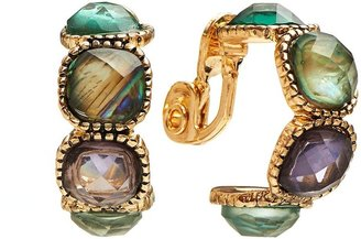 Napier gold tone simulated abalone clip-on semi-hoop earrings
