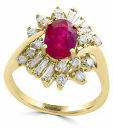 Effy 0.61TCW Diamonds, Natural Ruby and 14K Yellow Gold Ring