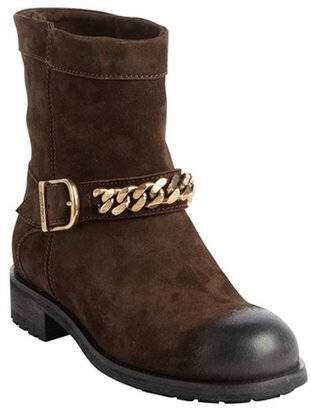Jimmy Choo brown suede military style biker boots