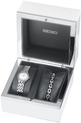 Seiko Women's SUJG27 Crystal Box Set Silver Dial Watch $250 thestylecure.com