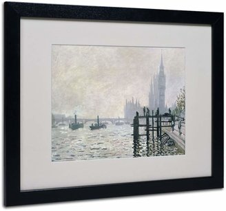 Trademark fine art 16'' x 20'' ''The Thames Below Westminster'' Framed Canvas Wall Art by Claude Monet