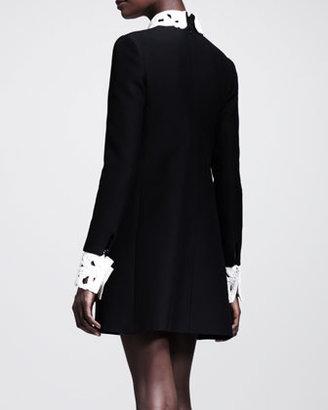 Valentino A-Line Detachable-Collar Shift Dress
