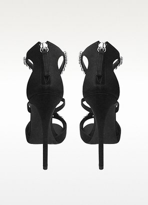 Giuseppe Zanotti Black Suede and Crystal Sandals
