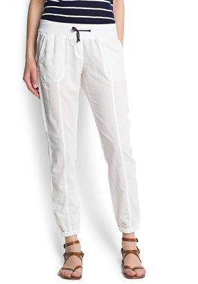 MANGO Ramie cotton-blend trousers