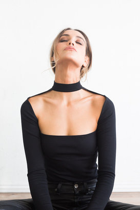 Donna Mizani - Long Sleeve Cut Out Mock Top $117 thestylecure.com