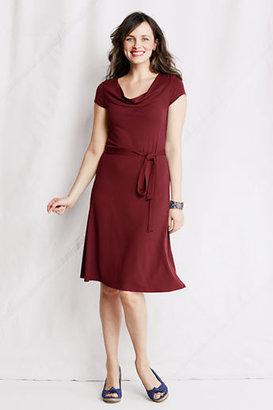 Lands' End Women's Petite Knit Drape Yoke Dress