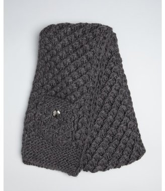 Vince Camuto charcoal heather tuck stitch button pocket muffler scarf