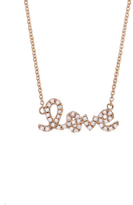 Sydney Evan Diamond Love Script Necklace - Rose Gold