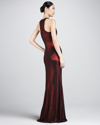 David Meister Metallic Ruched Racerback Gown