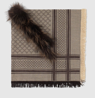 Gucci GG pattern shawl with fur trim