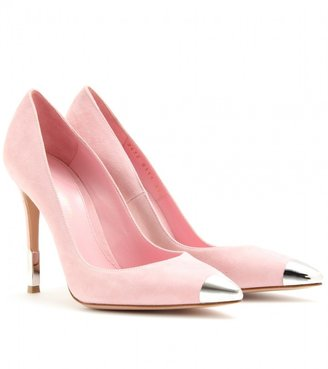Gianvito Rossi SUEDE POINTY TOE PUMPS WITH METAL ACCENT