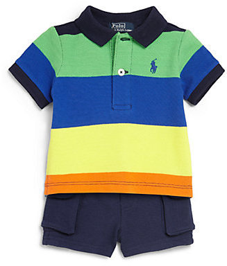 Ralph Lauren Infant's Two-Piece Lifesaver Striped Polo Shirt & Shorts Set