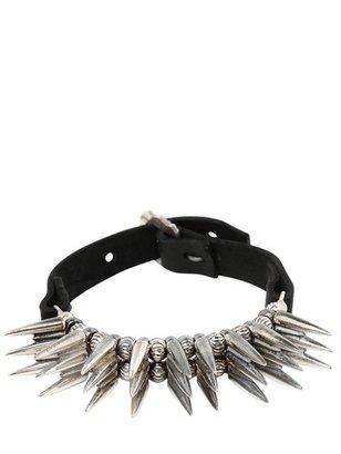 Emanuele Bicocchi Large Spike Silver & Leather Bracelet