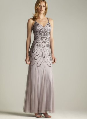 Adrianna Papell Low Tie Back Beaded Gown