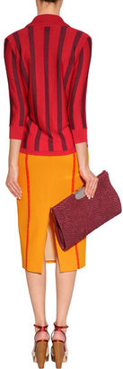 L'Wren Scott LWren Scott Orange-Multi High Waisted Pencil Skirt with Lace Trim