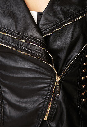 Forever 21 Studded Faux Leather Moto Jacket