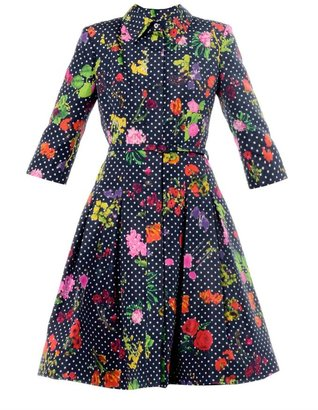 Oscar de la Renta Polka-dot and floral-print dress