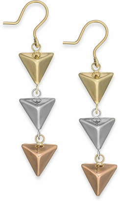 Italian Gold Tri-Tone Pyramid Triple Drop Earrings in 14k Gold