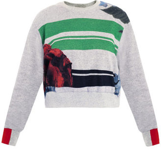 Preen Poppy stripe cropped sweat top