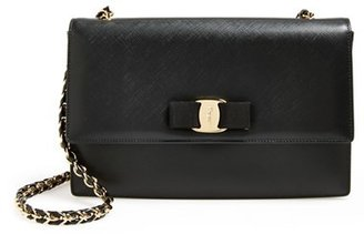 Salvatore Ferragamo 'Ginny' Saffiano Leather Shoulder Bag - Black $1,150 thestylecure.com