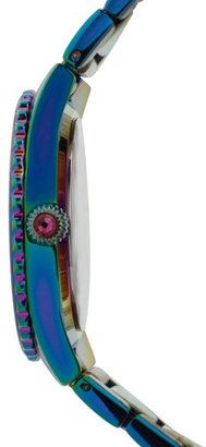 Betsey Johnson Crystal Bezel Iridescent Bracelet Watch, 36mm