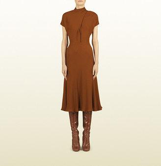 Gucci Rust Embossed Motif Cross Front Dress