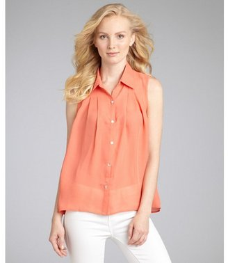Romeo & Juliet Couture pale orange chiffon pleated sleeveless blouse