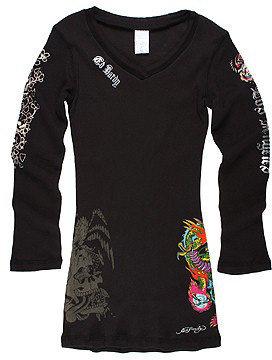 Ed Hardy Kids - Geisha Tattoo Dress (Toddler/Little Kids/Big Kids) (Black)